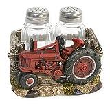 Red Tractor 3 Piece Salt & Pepper Shaker Set