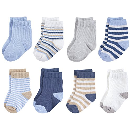 Touched by Nature Baby Organic Cotton Socks, Tan and Light Blue 8Pk, 0-6 Months