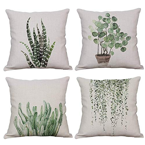 YeeJu Set of 4 Green Plant Throw Pillow Covers Decorative Cotton Linen Square Outdoor Cushion Cover Sofa Home Pillow Covers 18x18 Inch ()