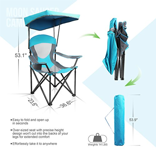 Peachy Alpha Camp Heavy Duty Canopy Lounge Chair Sunshade Hiking Travel Chair With Cup Holder Enamel Blue Squirreltailoven Fun Painted Chair Ideas Images Squirreltailovenorg
