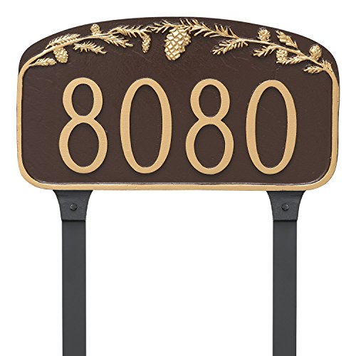 Pinecone Address Plaque - Montague Metal Pine Cone Address Sign Plaque with Lawn Stakes, 7.25