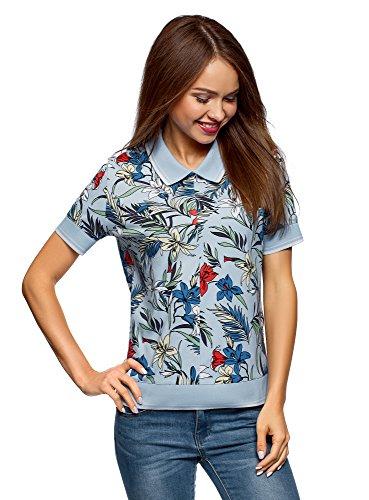 oodji Ultra Damen Bedrucktes Poloshirt mit Reißverschluss