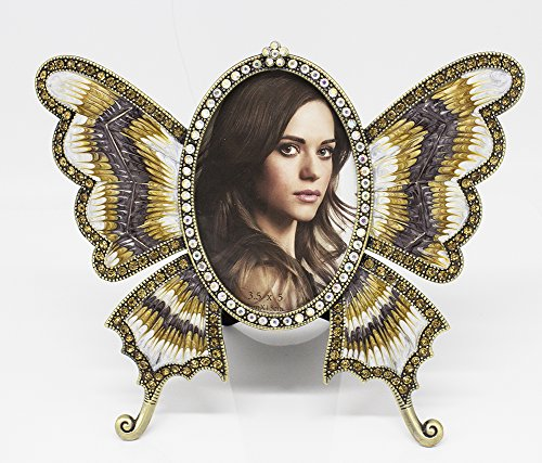 Fennco Styles Buttlerfly Shaped Diamond Decorative Picture Frame (Butterfly - Frame Diamond Shaped
