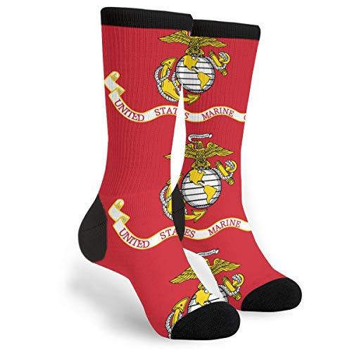 Women's Men's Fun Novelty Crazy Crew Socks Us Marine Corps Flag Dress Socks