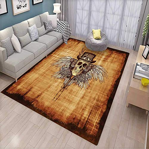 - Skull Customize Door mats for Home Mat Cool Skull Icon on Parchement Background Retro Style Dead on Eagle Wings Gothic Door Mat Outside Brown Orange