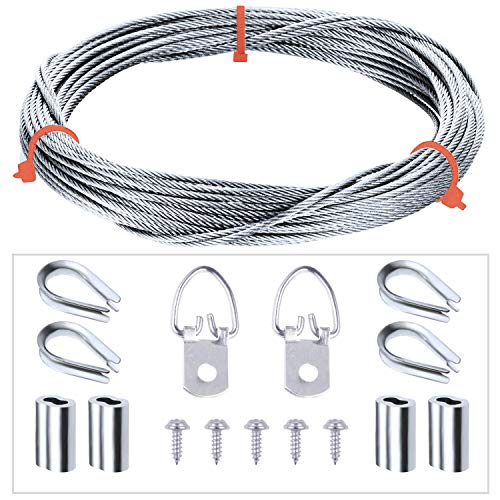 Picture Hanging Kit D-Ring Picture Hangers with Screws, Picture Hanging Wire, Stainless Steel Thimble, Aluminum Crimping Loop Sleeve, Supports up to 33 lbs (100 Feet)
