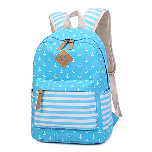 Queenie - Cotton Canvas School Backpack Casual Daypack Shoulder Bag for Teens Girls Boys (8833 Sky Blue) by Queenie (Image #1)