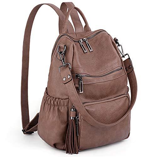 (UTO Women Backpack Purse PU Washed Leather Convertible Ladies Rucksack Tassel Zipper Pocket Shoulder Bag Khaki )