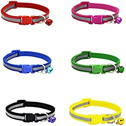 Nylon Pet Dog Collar Reflective Adjustable Cat Puppy Collar with Bell Adjustable Pack of 6 (A)