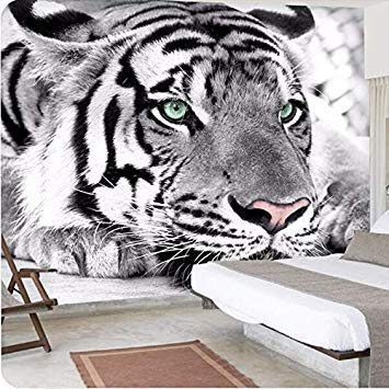 3D Custom Non-Woven Photo Mural Wallpaper Animal Black and White Tiger Home Decor for