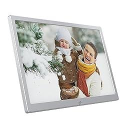 Kaylocheer Metal Digital Photo Frames- HD Electronic Picture Frames- Ad Advertising Players- Album Slideshow- Music- Video Playback- Calendar Clock (13, Silver)