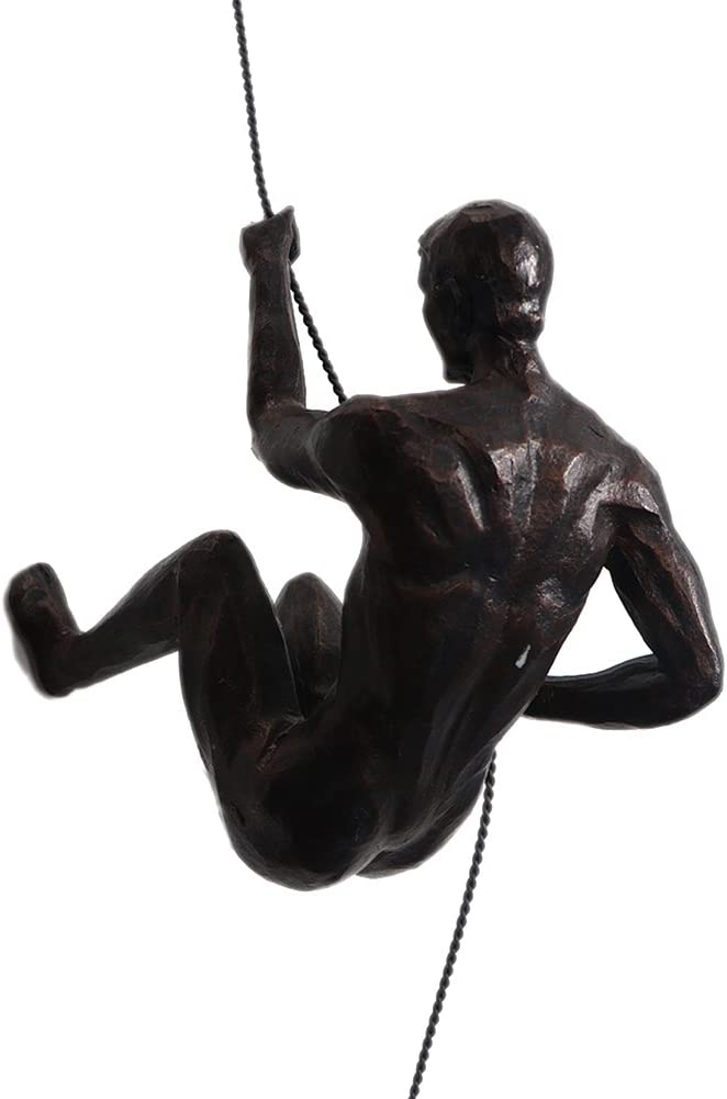Ibnotuiy Nordic Retro Resin Climbing Man Wall Sculptures Creative Hand-Finished Sculpture Figurine for Bar/Home/Office Art Decor (Posture C, Copper Black)