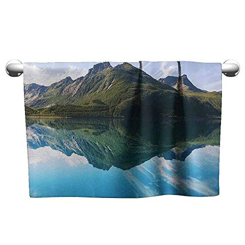 (duommhome Lakehouse Decor Collection Soft Superfine Fiber Bath Towel View of Mountain with Sharp Peaks Covered by Short Trees Reflected to a Quiet Lake Picture W10 x L39 Aqua Green )