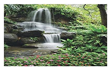 Lunarable Waterfall Doormat Pond Flowers Tropical Plants Majestic Fresh Jungle Garden Decorative Polyester