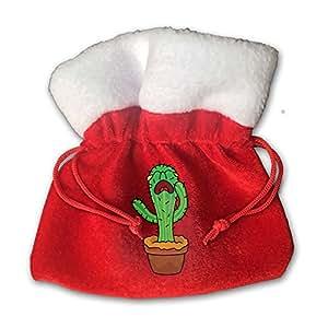 Cactus Red Velvet Drawstring Cloth Storage Bags 15cm X 15cm