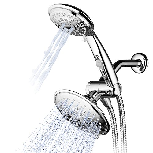 (Hydroluxe 30-Setting Ultra-Luxury 6 inch Rainfall Shower Head & Handheld 3-way Combo with Water Saving Pause Switch and Stainless Steel Hose/Enjoy Separately or Together! Premium All Chrome Finish)