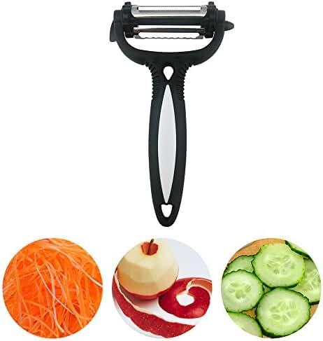 DONGJI 3 in 1 Multifunctional Peeler, 360 Degree Swivel Vegetable Fruit Peeler - Non-slip Comfortable Handle