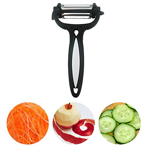DONGJI 3 in 1 Multifunctional Peeler, 360 Degree Swivel Vegetable Fruit Peeler – Non-slip Comfortable Handle