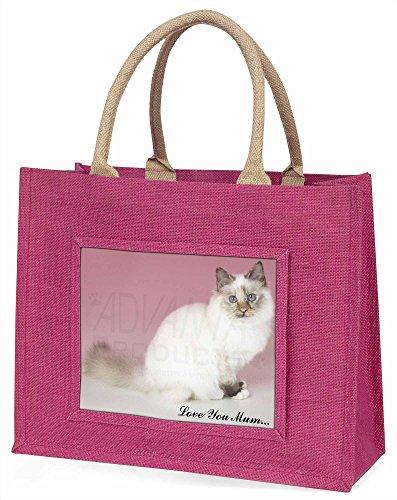 Advanta ac-94lymblp Birma Katze, Love You Mum Große Einkaufstasche Weihnachten Geschenk Idee, Jute, Rosa, 42x 34,5x 2cm