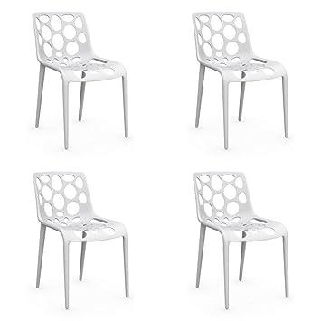 Inside - Juego de 4 sillas apilables, Hero Blanca: Amazon.es: Hogar