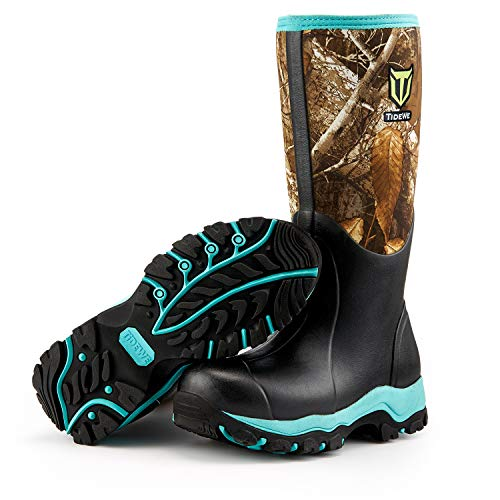 "TideWe Hunting Boot for Women, Insulated Waterproof Durable 15"" Women's Hunting Boot, 6mm Neoprene and Rubber Outdoor Boot Realtree Edge Camo(Green Size 7)"