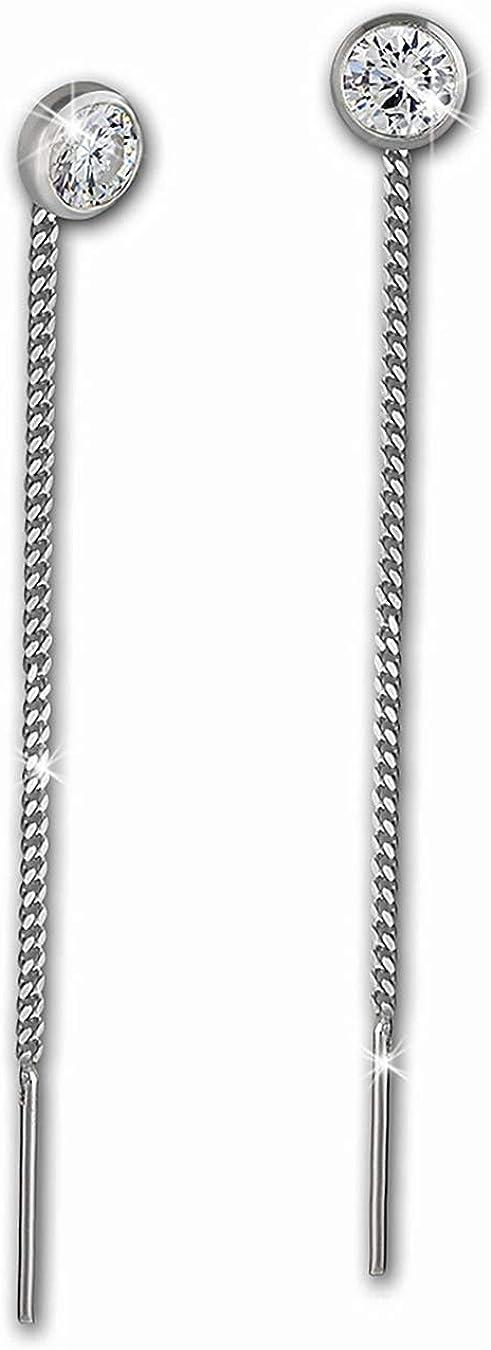 Pendientes SilberDream para mujer con de plata de ley 925 con circonitas blancas de3mm SDO5963W