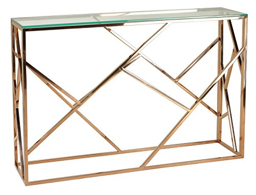 Cortesi Home CH-AT656214 Tavy Contemporary Glass Console Table, Rose Gold