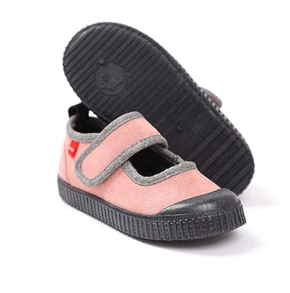 Ozkiz Moomoo Shoe Girls Comfortable Non Slip Grey and Pink Casual Mary Jane Flats