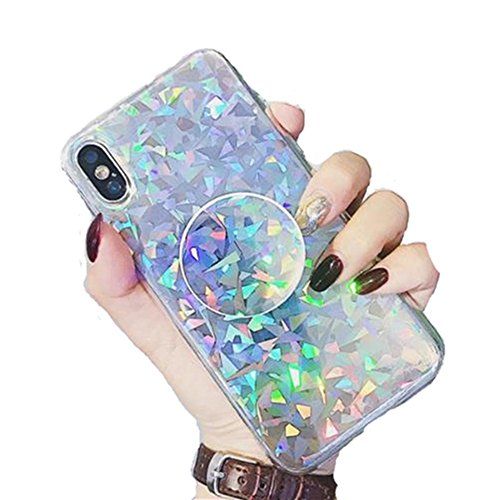 iPhone X Shiny Shockproof Ring Stand Case,Aulzaju iPhone X Super Bling Beauty Soft TPU Air Cushion Holographic Sparkle Case Cover for iPhone X/10 for Girls Women-Triangle (Cushions Bling)