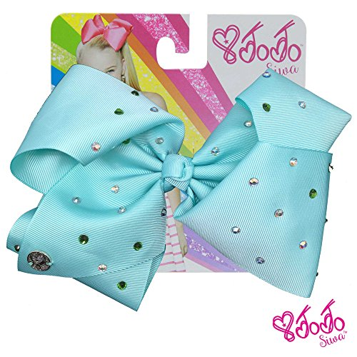 JoJo Siwa Signature Collection Hair Bow with All-Over - Multicolored Rhinestones in Deep Mint - Sticker Patch Set Included
