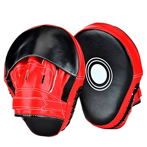 Curved Mitts (Wuudi New Item Essential Curved Boxing Gloves MMA Punching Mitts for Kickboxing, Muay Thai, Sparring)