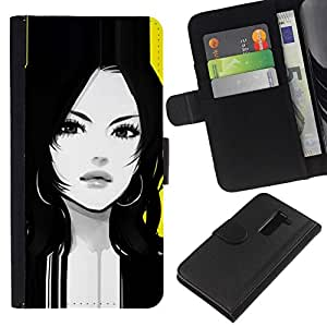 All Phone Most Case / Oferta Especial Cáscara Funda de cuero Monedero Cubierta de proteccion Caso / Wallet Case for LG G2 D800 // mujer tranquila