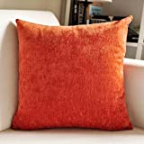 M MOCHOHOME Velvet Solid Square Throw Pillow, Decorative Toss Pillow - 18'' x 18'', Orange-red