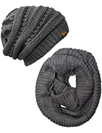 Women's Plaid Print Infinity Scarf and Beanie Hat Set