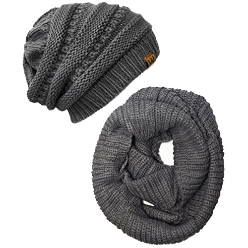 (Wrapables Winter Warm Knitted Infinity Scarf and Beanie Hat Set, Charcoal)