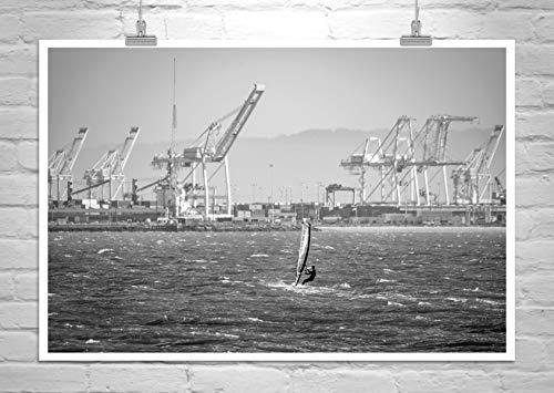 Windsurfing Photograph, Oakland Harbor Cranes -
