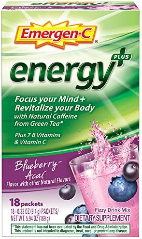 Emergen-C Energy , With B Vitamins, Vitamin C And Natural Caffeine From Green Tea 18 Count, Blueberry Acai Flavor Dietary Supplement Drink Mix, 0.33 Ounce Powder Packets