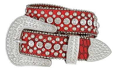 """Hagora Women Fancy Clear Zircon Riveted Genuine Leather 1-1/2"""" Wide Buckle Belt"""