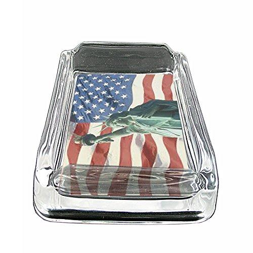 American Flag USA S20 Glass Square Ashtray 4