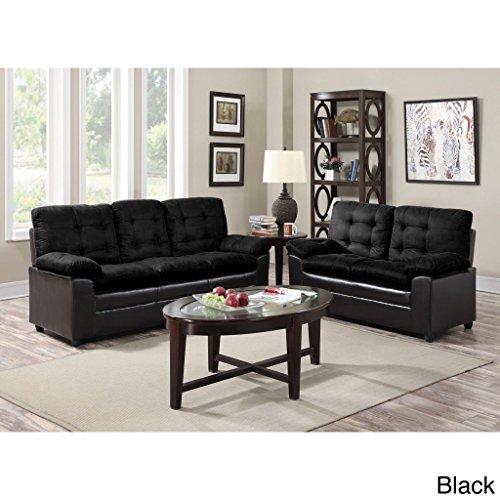 GTU Furniture Two-Tone Microfiber Sofa and Loveseat Set Black