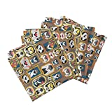 Roostery Cats Kitties Famous Celebrities Frames Golden Center Stage Linen Cotton Dinner Napkins Cats Wall of Fame Ii Small by Selmacardoso Set of 4 Dinner Napkins