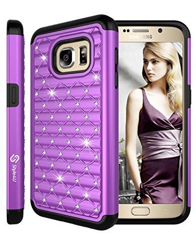 Galaxy S7 Case, Style4U Studded Rhinestone Crystal Bling Hybrid Armor Case Cover for Samsung Galaxy S7 with 1 Style4U Stylus [Purple / Black]