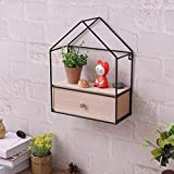 WG Creative DIY Triangle House Drawer Storage Cabinet Iron Wood Wall Hanging Shelf Storage Cabinet