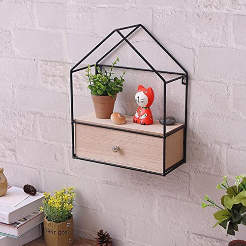 WG Creative DIY Triangle House Drawer Storage Cabinet Iron Wood Wall Hanging Shelf Storage Cabinet by WG