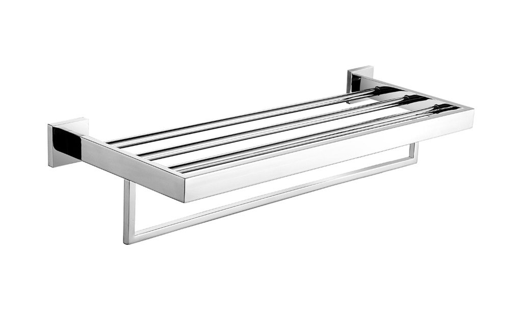 Leyden Wall Mount Bathroom Contemporary Chrome Finish Stainless Steel Material Bathroom Shelves Leyden Fashion Home