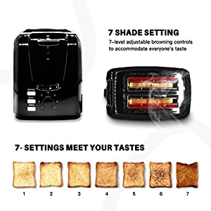 Toaster 2 Slice Best Rated Prime Toasters Evenly and Quickly Stainless Steel Black Bagel Toaster with 2 Wide Slots 7…