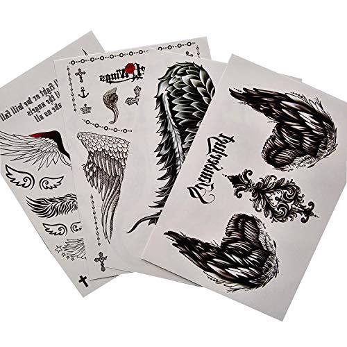 Kotbs 4 Sheets Mix Angel Wings Large Tattoo Sticker for Women Waterproof Temporary Tattoos Paper Body Art Fake Tattoo