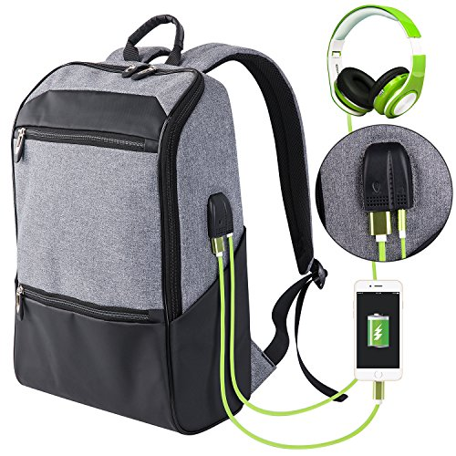 Laptop Backpack for Men & Women with Waterproof, Travel/School Backpack with USB Charging Port & Headphone Interface, Slim Business/Work Computer Bag Fit 15.6 to 17 Inches Laptop/Notebook / DSLR by Shaolong