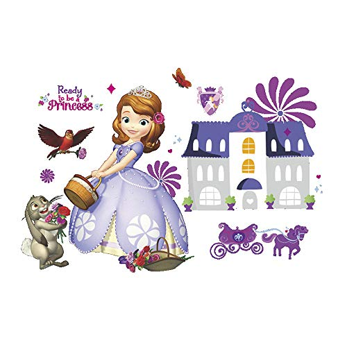 ufengke Purple Pretty Princess Wall Decals Fairy Removable Vinyl Wall Stickers Art Decor for Kids Girls Nursery Bedroom