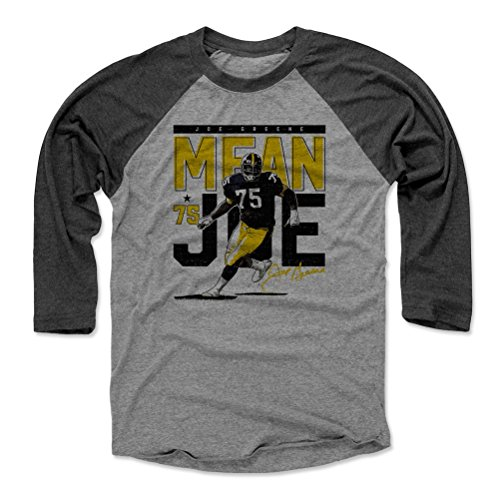500 LEVEL Mean Joe Greene Baseball Tee Shirt Large Black/Heather Gray - Vintage Pittsburgh Football Raglan Shirt - Joe Greene Pass Rush Pittsburgh -